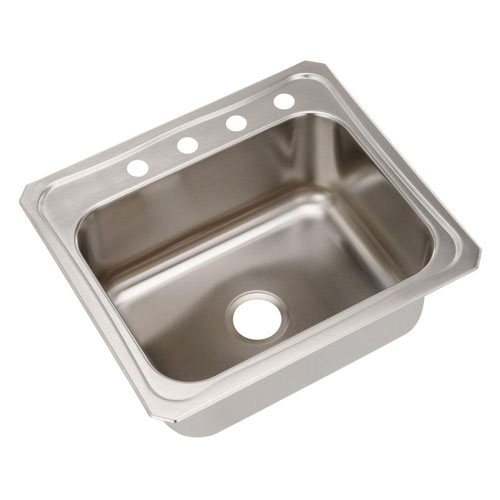 Elkay Celebrity Top Mount Stainless Steel 25x22x10 4-Hole Single Bowl Kitchen Sink 797392
