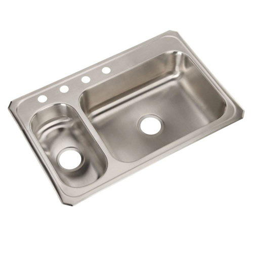 Elkay Celebrity Top Mount Stainless Steel 33x22x6-7/8 4-Hole Double Bowl Kitchen Sink 797446