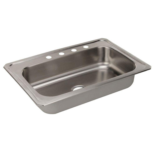 Elkay Celebrity Top Mount Stainless Steel 33 inch 4-Hole Single Bowl Kitchen Sink 797455