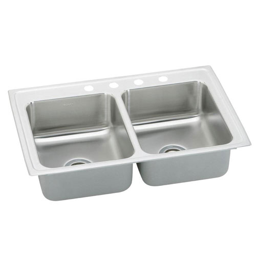 Elkay Pacemaker Top Mount Stainless Steel 33 inch x 19-1/2 inch x 7.125 inch 4-Hole Double Bowl Kitchen Sink 797509