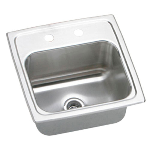 Elkay Gourmet Lustertone Top Mount Stainless Steel 15x15x7.13 3-Hole Single Bowl Kitchen Sink in Satin 846892