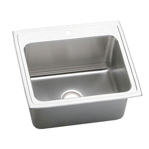 Elkay Lustertone Top Mount Stainless Steel 25x22x12-1/8 1-Hole Single Bowl Kitchen Sink 847009