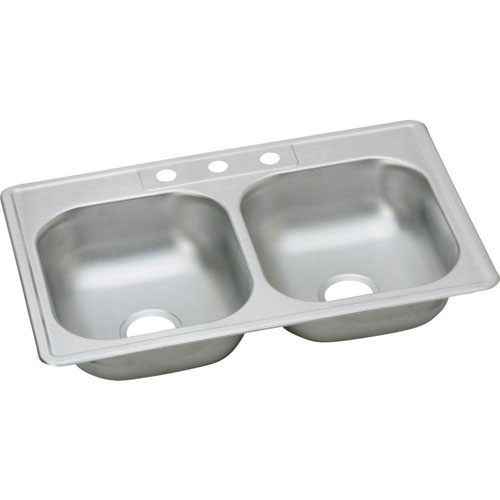 Elkay Dayton Top Mount Stainless Steel 33x22x6.5625 3-Hole Double Bowl Sink in Satin 849025