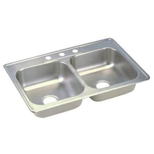 Elkay Dayton Top Mount Stainless Steel 33x21x6.5 3-Hole Double Bowl Kitchen Sink 849052