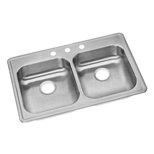 Elkay Dayton Top Mount Stainless Steel 33x21.25x5.375 3-Hole Double Bowl Kitchen Sink 849088