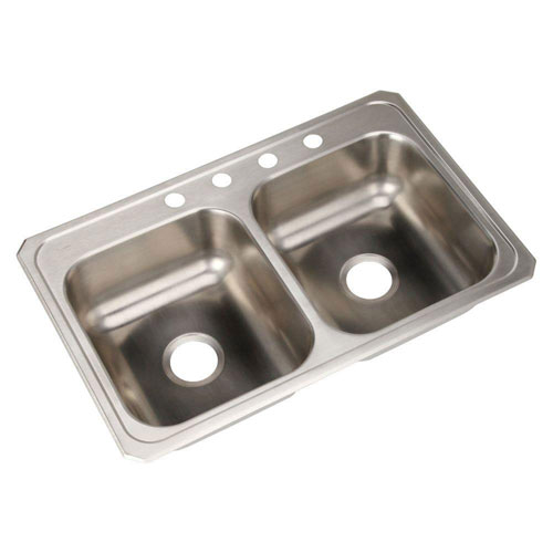 Elkay Celebrity Top Mount Stainless Steel 33x21-1/4x 6-7/8 4-Hole Double Bowl Kitchen Sink 889291