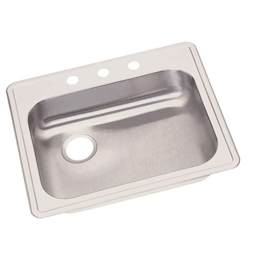 Elkay Dayton Top Mount Stainless Steel 25x21.25x5.375 3-Hole Single Bowl Kitchen Sink 889318