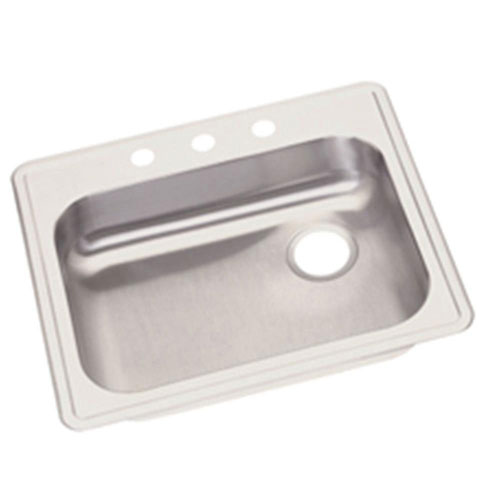Elkay Dayton Top Mount Stainless Steel 25x21.25x5.375 inch 3-Hole Single Bowl Kitchen Sink 889336