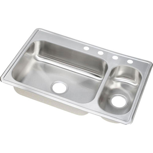 Elkay Dayton Elite Top Mount Stainless Steel 33x22x8 4-Hole Double Bowl Kitchen Sink 899362