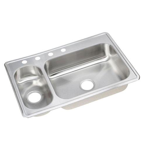 Elkay Dayton Elite Top Mount Stainless Steel 33x22x8 4-Hole Double Bowl Kitchen Sink 899371
