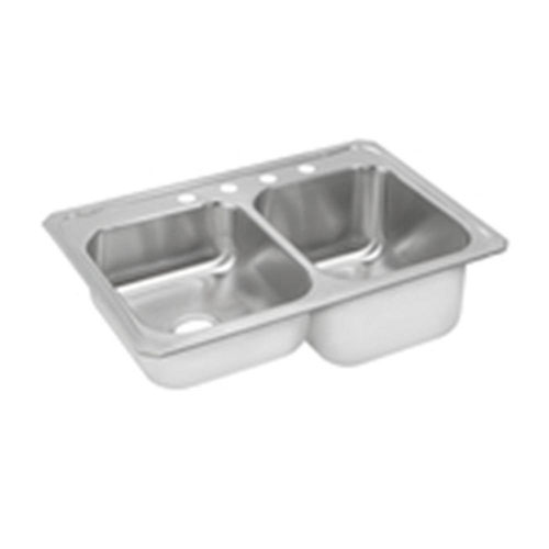 Elkay Gourmet Celebrity Top Mount Stainless Steel 33 inch 4-Hole Double Bowl Kitchen Sink in Brushed Satin 900739