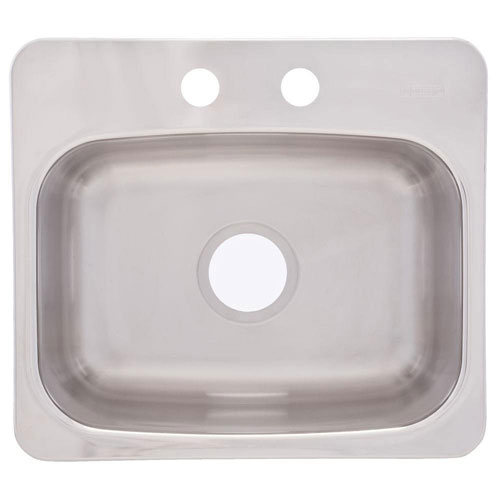 Franke Top Mount Stainless Steel 19.125x17x8 2-Hole Single Bowl Bar Sink 226021