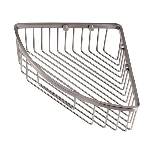 Gatco Wall-Mount Brass Corner Basket in Satin Nickel 463547