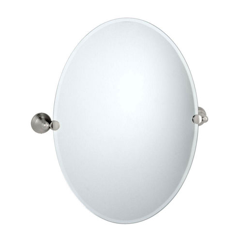 Gatco Charlotte 26.5 in L x 23 in W Oval Wall Mirror in Satin Nickel 558879