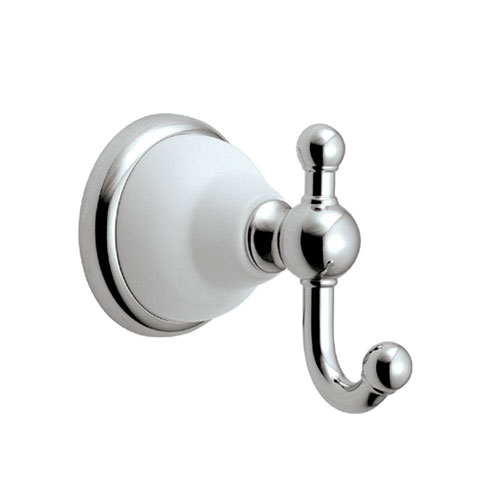 Gatco Franciscan Single Robe Hook in Polished Chrome and Porcelain 73284