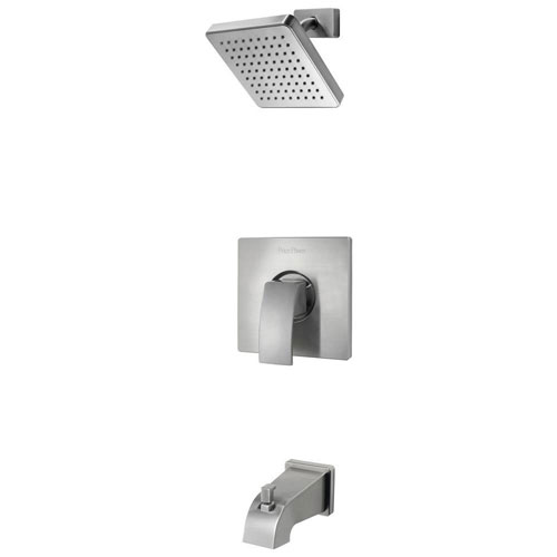 Price Pfister Kenzo 1-Handle Tub and Shower Faucet Trim Kit in Brushed Nickel (Valve Not Included) 443853