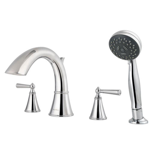 Price Pfister Saxton 2-Handle Deck Mount Roman Tub Faucet with Handshower Trim Kit in Polished Chrome (Valve Not Included) 460991