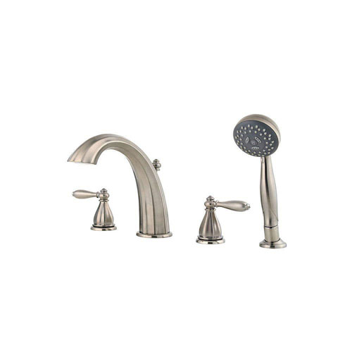 Price Pfister Portola 2-Handle Deck Mount Roman Tub Faucet with Handshower Trim Kit in Brushed Nickel (Valve Not Included) 461052