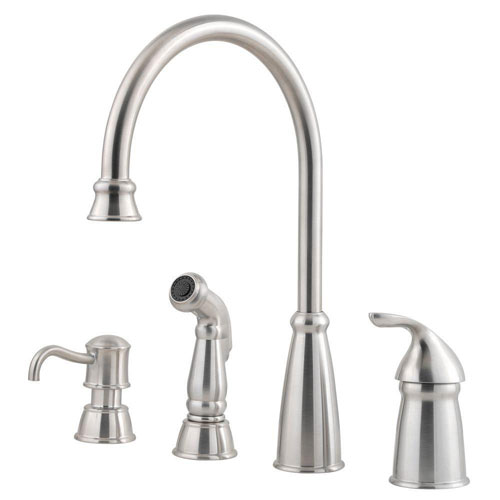 Price Pfister Avalon Single-Handle Lead-Free Kitchen Faucet with Side Spray and Soap Dispenser in Stainless Steel 469469