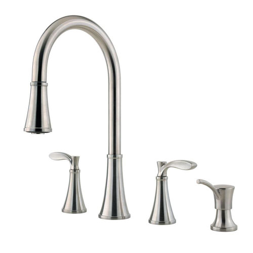 Price Pfister Petaluma 2-Handle Pull-Down Sprayer Kitchen Faucet with Soap Dispenser in Stainless Steel 473295