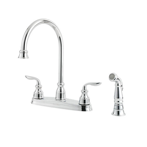 Price Pfister Avalon 2-Handle High-Arc Side Sprayer Kitchen Faucet in Polished Chrome 474166