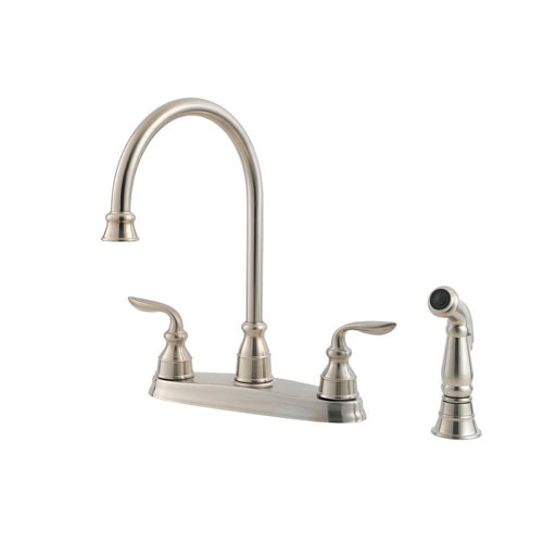Price Pfister Avalon 2-Handle Side Sprayer Kitchen Faucet in Stainless Steel 474167