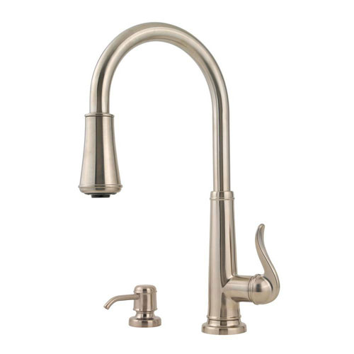 Price Pfister Ashfield Single-Handle Pull-Down Sprayer Kitchen Faucet in Brushed Nickel 475742