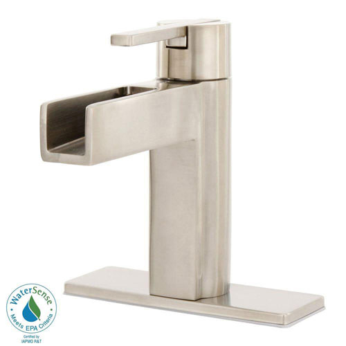 Price Pfister Vega 4 inch Centerset 1-Handle Waterfall Bathroom Faucet in Brushed Nickel 475788