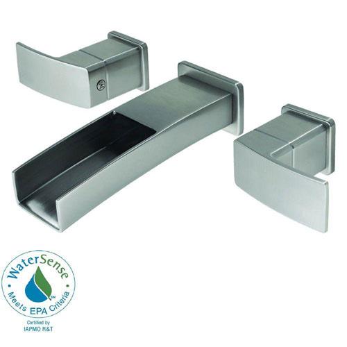 Price Pfister Kenzo Wall Mount 2-Handle Bathroom Faucet in Brushed Nickel 475855