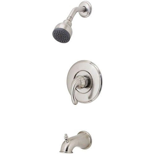 Price Pfister Treviso 1-Handle Tub and Shower Faucet Trim Kit in Brushed Nickel (Valve Not Included) 483001
