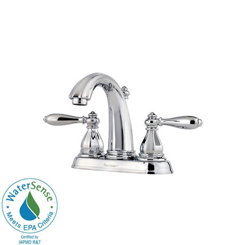 Price Pfister Portola 4 inch Centerset 2-Handle Bathroom Faucet in Polished Chrome 490486