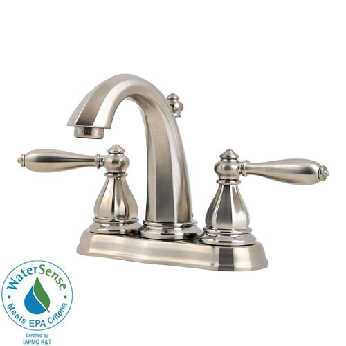 Price Pfister Portola 4 inch Centerset 2-Handle High-Arc Bathroom Faucet in Brushed Nickel 490487