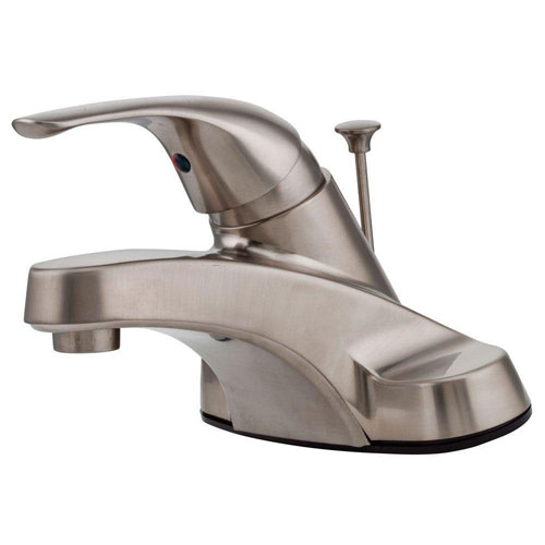 Price Pfister Pfirst Series 4 inch Centerset 1-Handle Bathroom Faucet in Brushed Nickel 519614