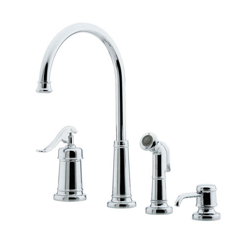 Price Pfister Polished Chrome Ashfield Single-Handle Kitchen Faucet with Sidespray and Soap Dispenser 519841