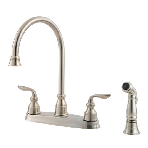 Pfister GT36-4CBS Avalon 2-Handle High Arc Kitchen Faucet with Side Spray, Stainless Steel 519870