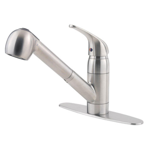 Price Pfister Pfirst Series Single-Handle Pull-Out Sprayer Kitchen Faucet in Stainless Steel 530579