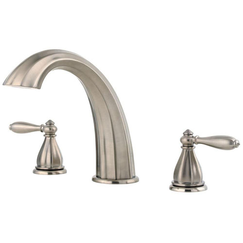 Price Pfister Portola 2-Handle Deck Mount Roman Tub Faucet Trim Kit in Brushed Nickel (Valve Not Included) 534730