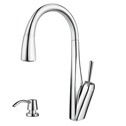 Price Pfister Zuri 1-Handle Pull-Down Sprayer Kitchen Faucet with Soap Dispenser in Polished Chrome 642754