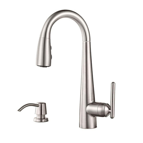 Price Pfister Lita Single-Handle Bar Faucet with Soap Dispenser in Stainless Steel 642760