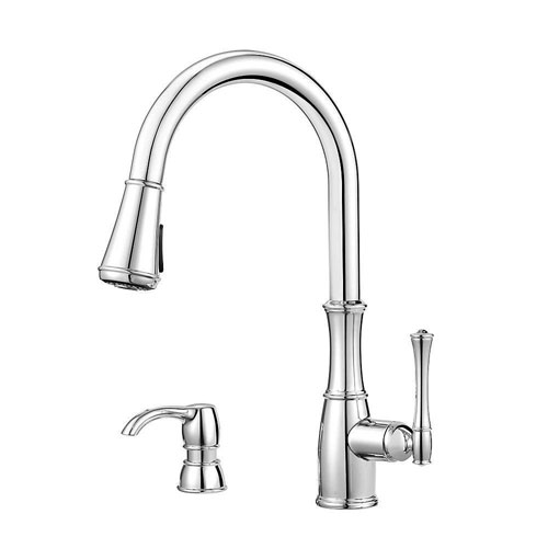 Price Pfister Wheaton Single-Handle Pull-Down Sprayer Kitchen Faucet with Soap Dispenser in Polished Chrome 642768