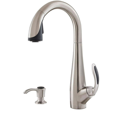 Price Pfister Nia Single-Handle Pull-Down Sprayer Kitchen Faucet with Soap Dispenser in Stainless Steel 642774