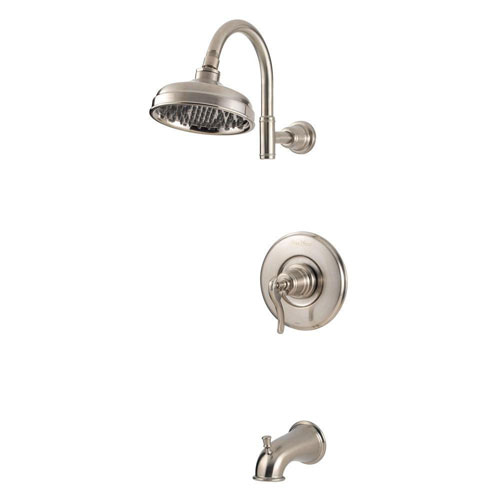 Price Pfister Ashfield 1-Handle Tub and Shower Faucet Trim Kit in Brushed Nickel (Valve Not Included) 763568