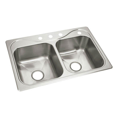 Sterling Southhaven X Drop-In Stainless Steel 33x22x8-1/2 4-Hole Double Bowl Kitchen Sink 514444