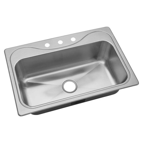 Sterling Southhaven Drop-in Stainless Steel 22x33x9.25 3-Hole Single Bowl Kitchen Sink 632960
