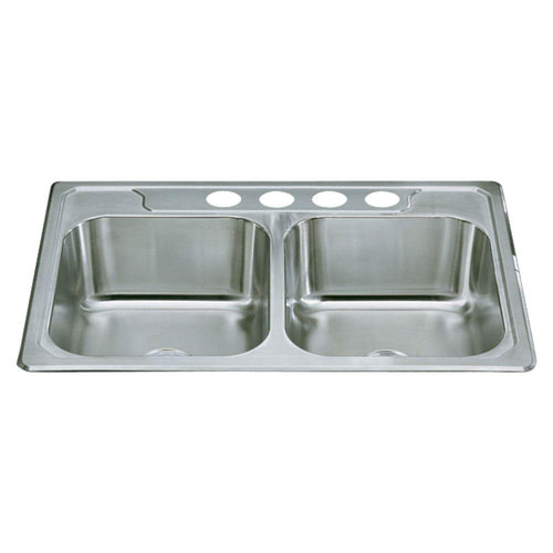 Sterling Middleton Top Mount Stainless Steel 33 inch 4-Hole Double Bowl Kitchen Sink 652188