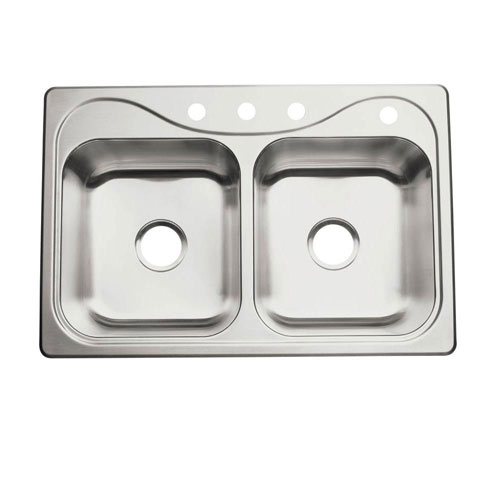 Sterling Southhaven Self-Rimming Stainless Steel 33 inch 4-Hole Double Bowl Kitchen Sink 663136