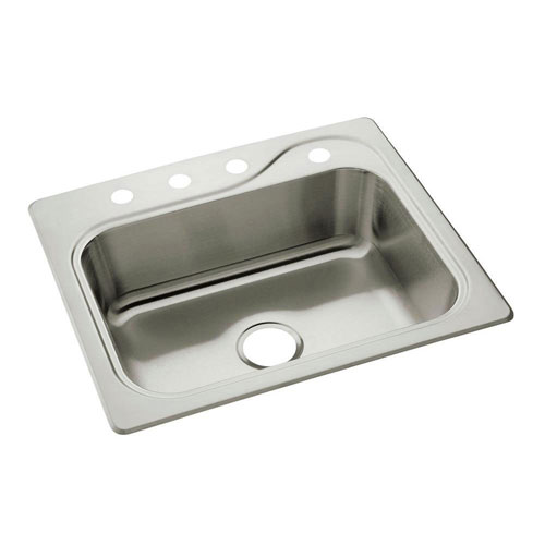 Sterling Southhaven Drop-In Stainless Steel 25 inch 4-Hole Single Bowl Kitchen Sink 663140