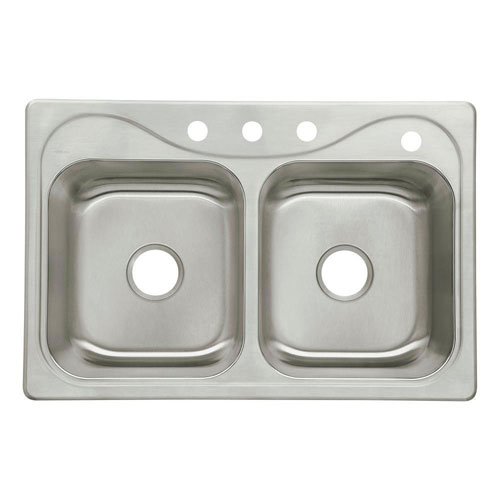 Sterling Southhaven Drop-In Stainless Steel 22 inch 4-Hole Double Bowl Kitchen Sink 663146