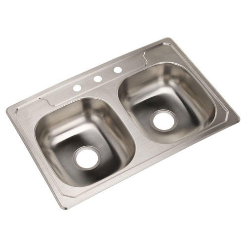 Sterling Middleton Self-Rimming Stainless Steel 33 inch 3-Hole Double Bowl Kitchen Sink 663150