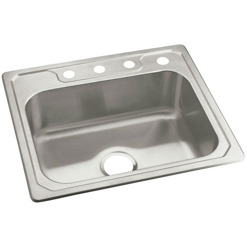 Sterling Middleton Self-Rimming Stainless Steel 25 inch 4-Hole Single Bowl Kitchen Sink 663152